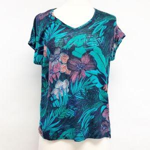 LOFT | linen tropical floral print blouse tee